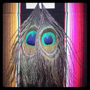 Jewelry - Peacock feather earrings handmade!